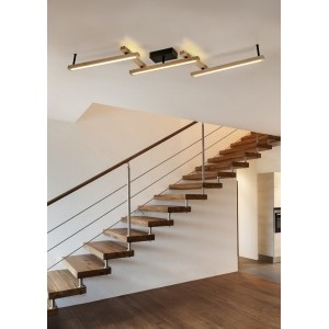 BELLARI Φωτιστικό οροφής απο μέταλλο και ξύλο led