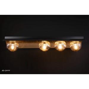 Νο2499 Φωτιστικό ράγα τετράφωτο οροφής απο μέταλλο και φύλλο χρυσού.