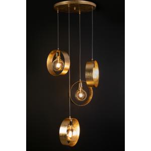 Νο 1025 Φωτιστικό κρεμασττό τετράφωτο από μέταλλο με φύλλο χρυσού.
